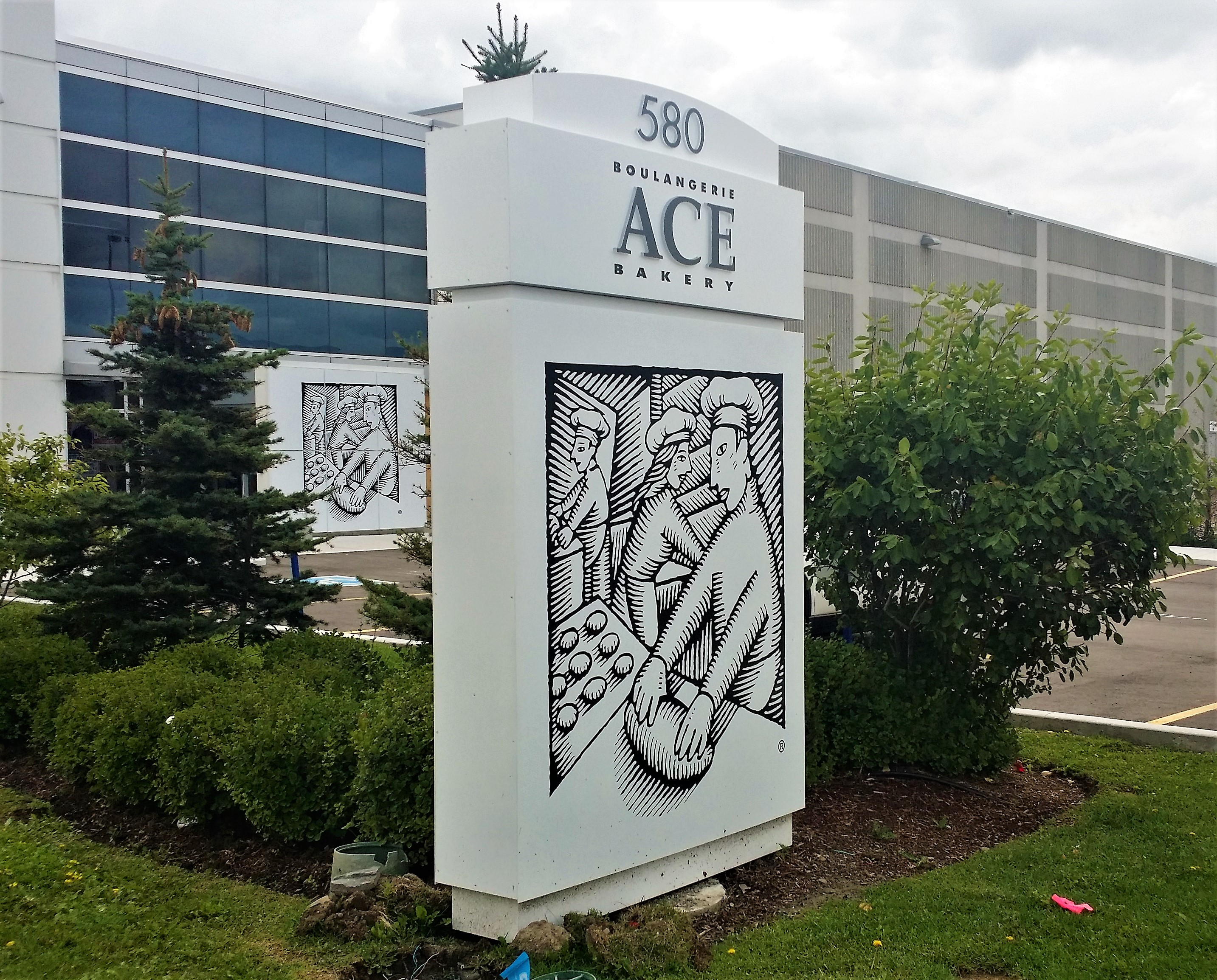 aluminum, sign, signage, pylon sign, ground sign, monument sign, led, illumination, paint finished, ace bakery