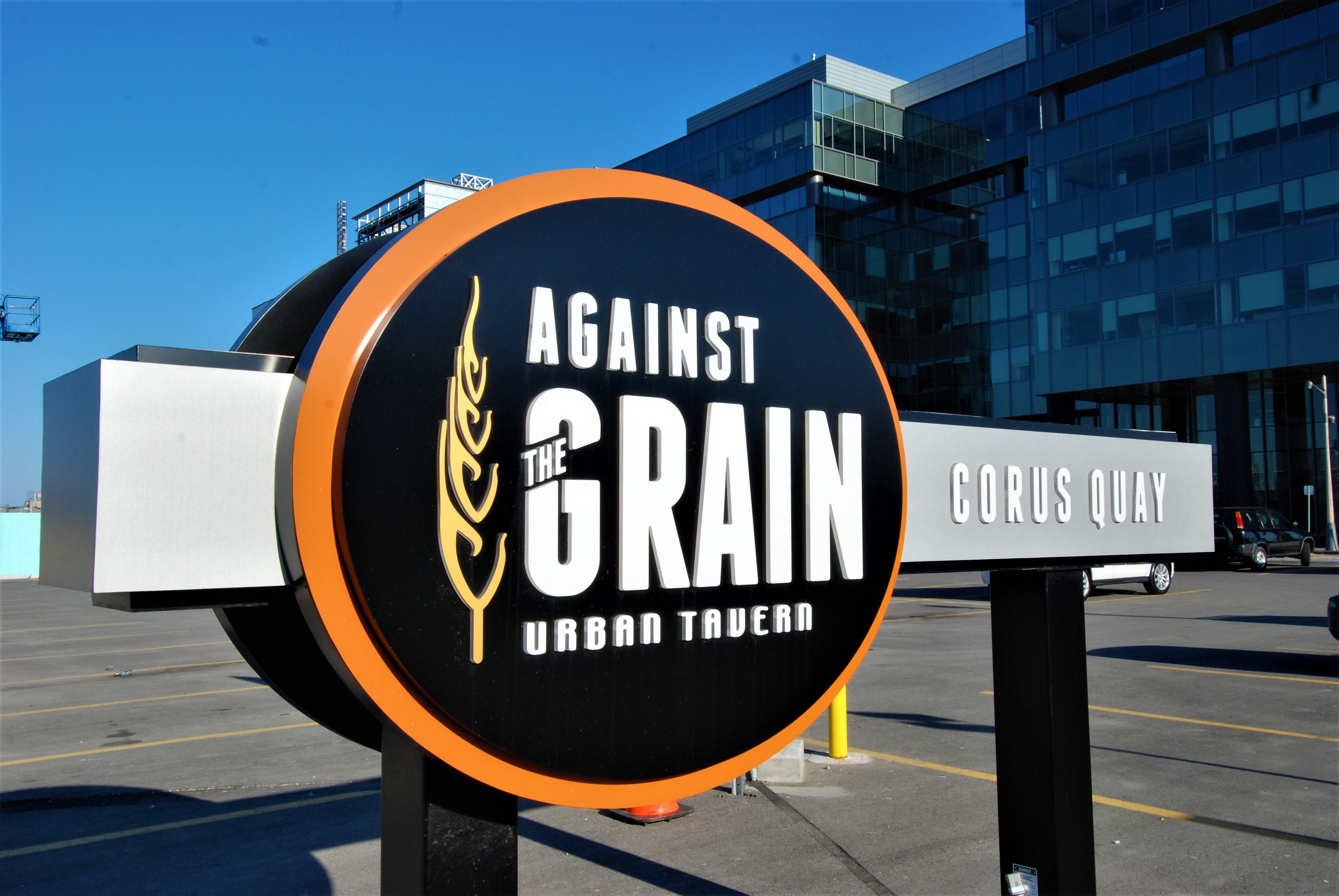 aluminum, sign, signage, pylon sign, ground sign, monument sign, led, illumination, paint finished, against the grain