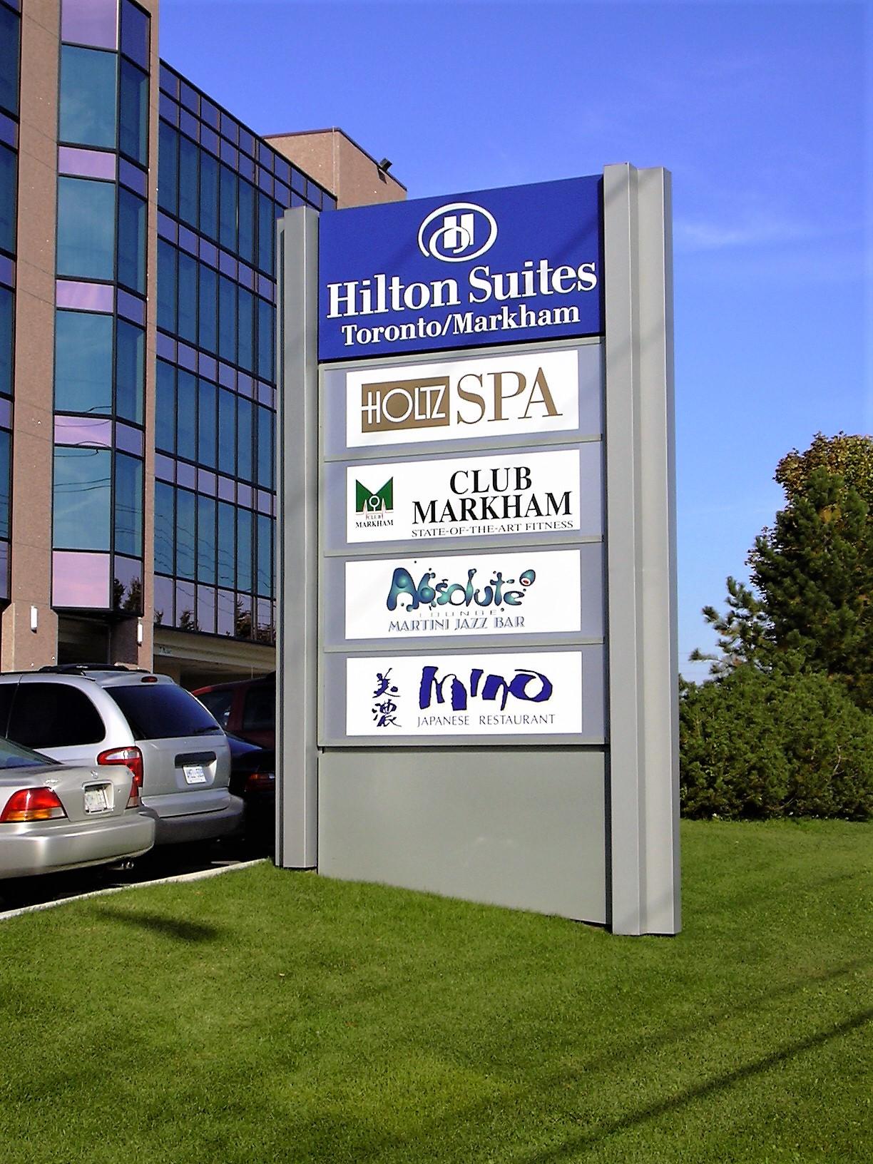 aluminum, sign, signage, pylon sign, ground sign, monument sign, led, illumination, paint finished, Hilton Suites