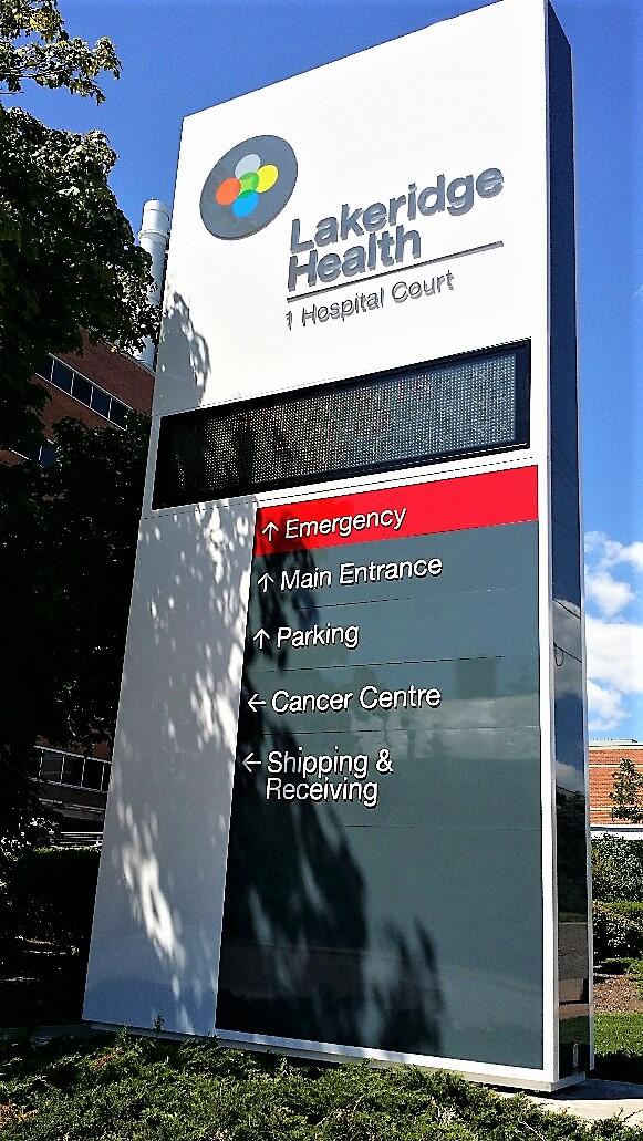 aluminum, sign, signage, pylon sign, ground sign, monument sign, led, illumination, paint finished, Lakeridge Hospital