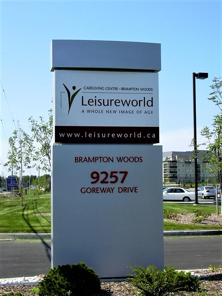 aluminum, sign, signage, pylon sign, ground sign, monument sign, led, illumination, paint finished, Leisure World