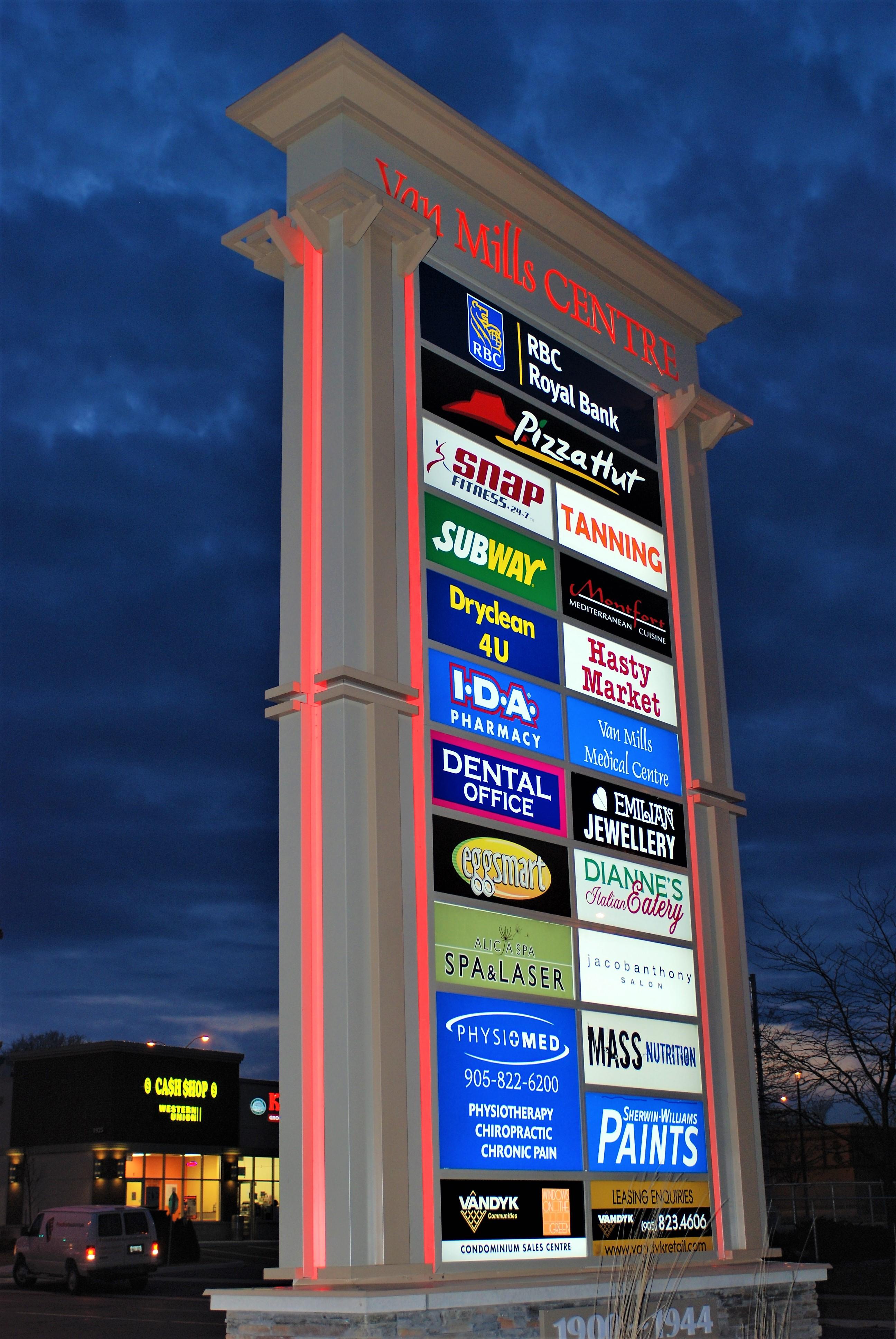 aluminum, sign, signage, pylon sign, ground sign, monument sign, led, illumination, paint finished, Van Mills